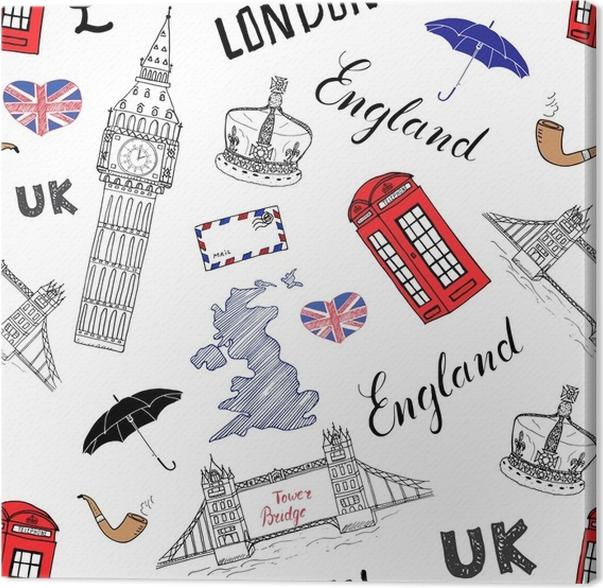 Cuadro en Lienzo La ciudad de Londres doodles elementos de patrones ...