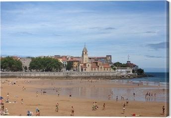Cuadro en Lienzo La gente en la playa de Gijón