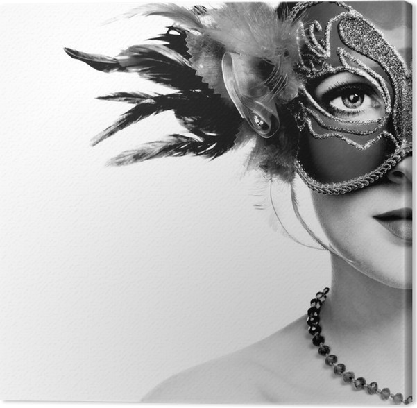 Cuadro en Lienzo La joven y bella mujer misteriosa máscara veneciana ...