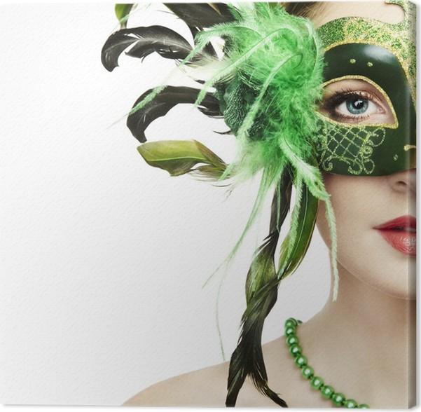 Cuadro en Lienzo La mujer hermosa joven en una máscara veneciana ...