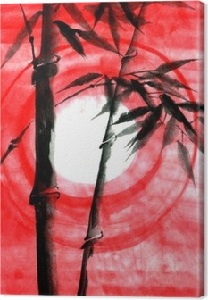 Cuadro en Lienzo La tinta de la acuarela Japanise bambú en la puesta del sol