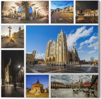 Cuadro en Lienzo Leon Collage, Castilla y León, España.