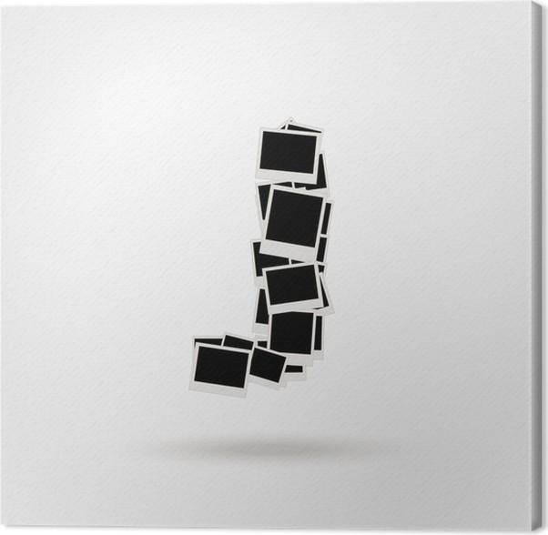Cuadro en Lienzo Letra J hecha de marcos de fotos, insertar las ...