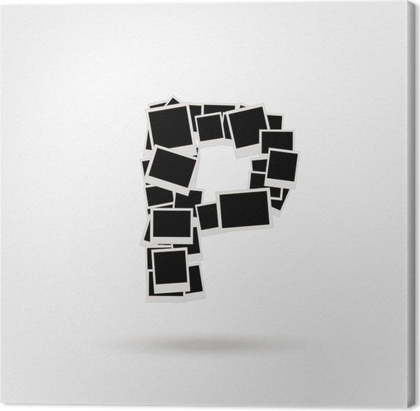 Cuadro en Lienzo Letra P a partir de marcos de fotos, insertar las ...