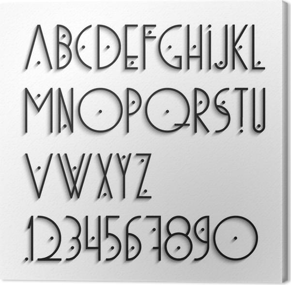 Cuadro en Lienzo Letras del alfabeto y los números elegantes con ...