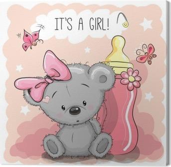Cuadro en Lienzo Linda chica de dibujos animados del oso