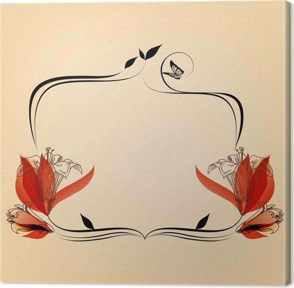 Cuadro en Lienzo Lindo marco floral elegante, copia espacio para el ...