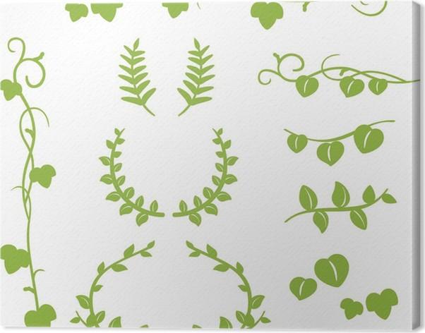 Cuadro en Lienzo Línea y marco de hojas • Pixers® - Vivimos para cambiar
