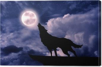 Cuadro en Lienzo Lobo aullando a la luna llena