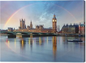 Cuadro en Lienzo Londres con el arco iris - Cámaras del Parlamento - Big Ben.