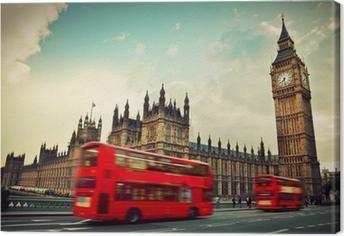 Cuadro en Lienzo Londres, Reino Unido. Bus rojo en el movimiento y el Big Ben