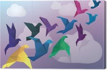 Cuadro en Lienzo Los pájaros vuelan Origami y nubes falso fondo