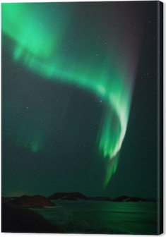 Cuadro en Lienzo Luces norteñas sobre el lago congelado Myvatn en Islandia