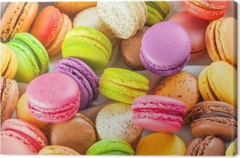 Cuadro en Lienzo Macarons coloridos franceses tradicionales en una caja