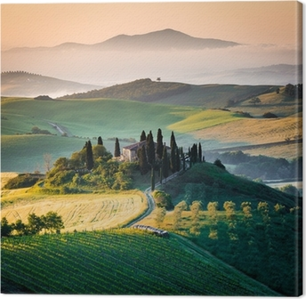 Cuadro en Lienzo Mañana en la Toscana, el paisaje y las colinas