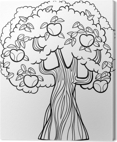 Cuadro en Lienzo Manzana de dibujos animados árbol de dibujos ...