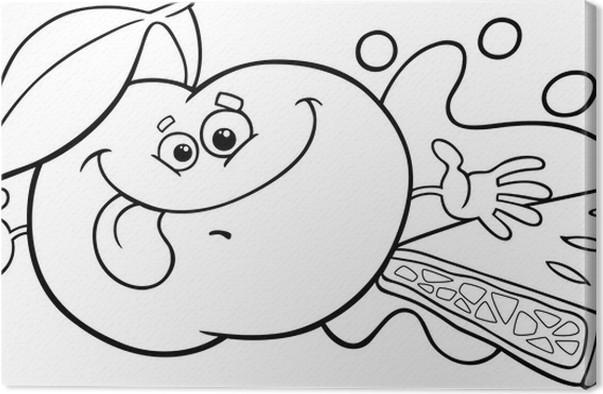 Cuadro en Lienzo Manzana y pastel para colorear de dibujos animados ...
