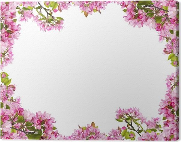 Cuadro en Lienzo Manzano rosa ramas de flores marco • Pixers ...