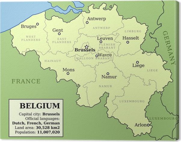 cuadro en lienzo mapa de blgica