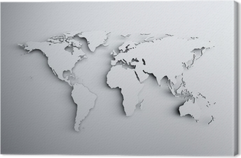 Cuadro en Lienzo Mapa del mundo 3D