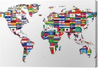 Cuadro en Lienzo Mapa del mundo con banderas