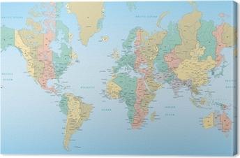 Cuadro en Lienzo Mapa del mundo con las zonas horarias