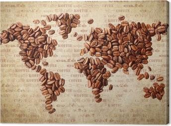 Cuadro en Lienzo Mapa del mundo de granos de café