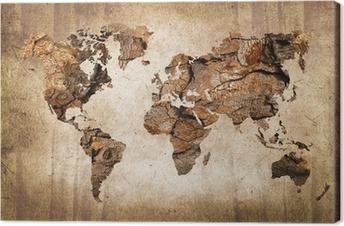 Cuadro en Lienzo Mapa del mundo de madera, textura del vintage