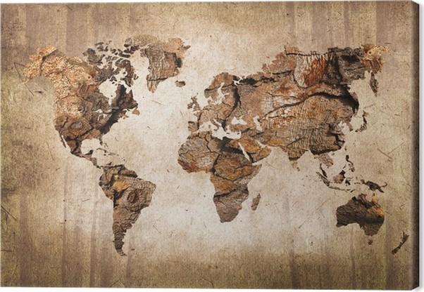 cuadro en lienzo mapa del mundo de madera textura del