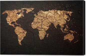 Cuadro en Lienzo Mapa del mundo en el fondo del grunge