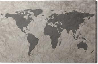 Cuadro en Lienzo Mapa del mundo en el muro de hormigón de grunge textura de fondo