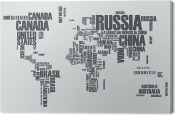 Cuadro en Lienzo Mapa del mundo: los contornos del país se compone de las palabras