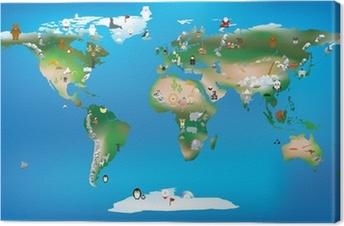 Cuadro en Lienzo Mapa del mundo para niños que utilizan los dibujos animados de animales y famosa lan