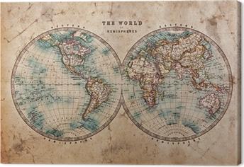Cuadro en Lienzo Mapa del Viejo Mundo en hemisferios