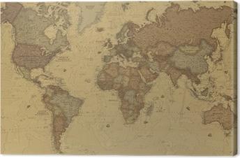 Cuadro en Lienzo Mapa mundo antiguo