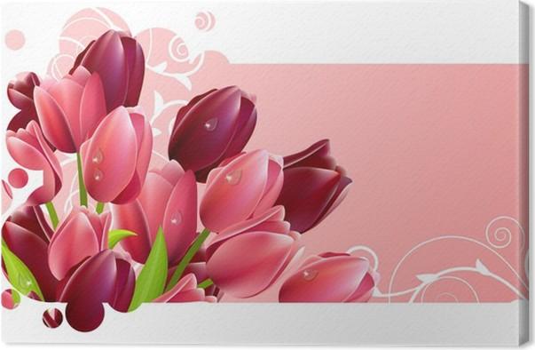 Cuadro en Lienzo Marco adornado con ramo de flores de tulipán ...