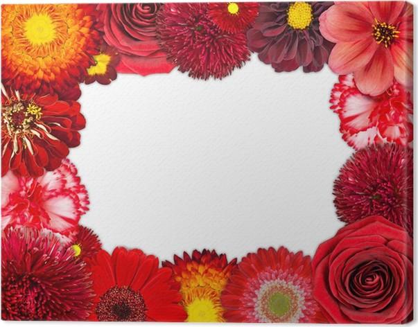 Cuadro en Lienzo Marco de la flor con las flores rojas sobre fondo ...