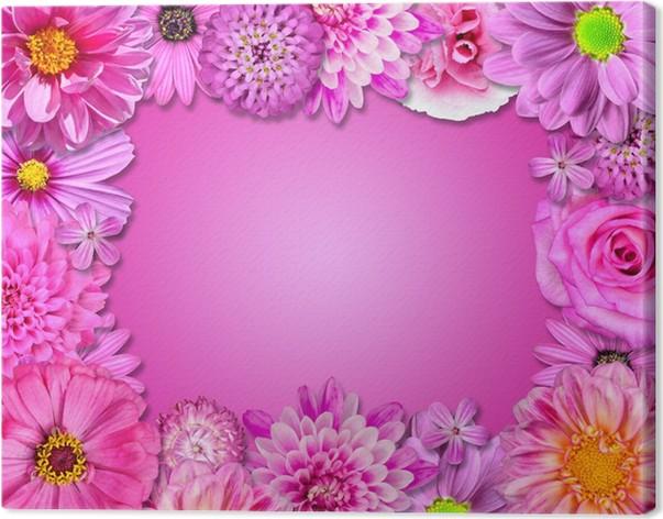 Cuadro en Lienzo Marco de la flor de color rosa, las flores púrpuras ...