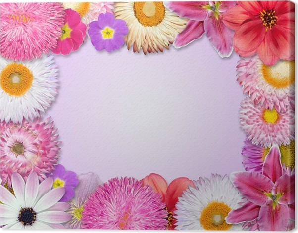 Cuadro en Lienzo Marco de la flor rosa, púrpura, Flores rojas ...