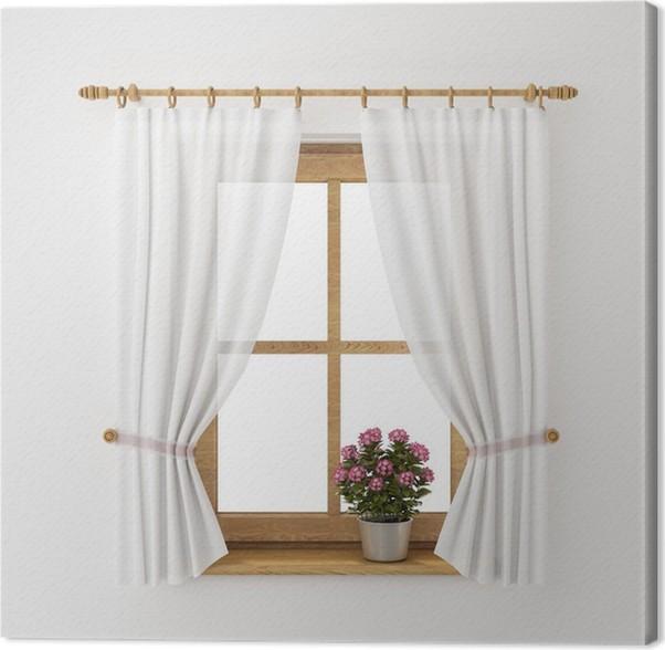 Cuadro en Lienzo Marco de la ventana de madera de la vendimia con la ...