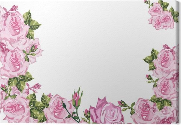 Cuadro en Lienzo Marco decorado por flores de rosa rosa en blanco ...