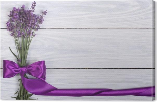 Cuadro en Lienzo Marco floral de las flores de cinta de la lavanda y ...