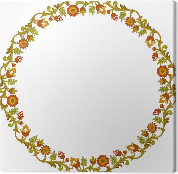 Cuadro en Lienzo Marco floral redondo • Pixers® - Vivimos para cambiar