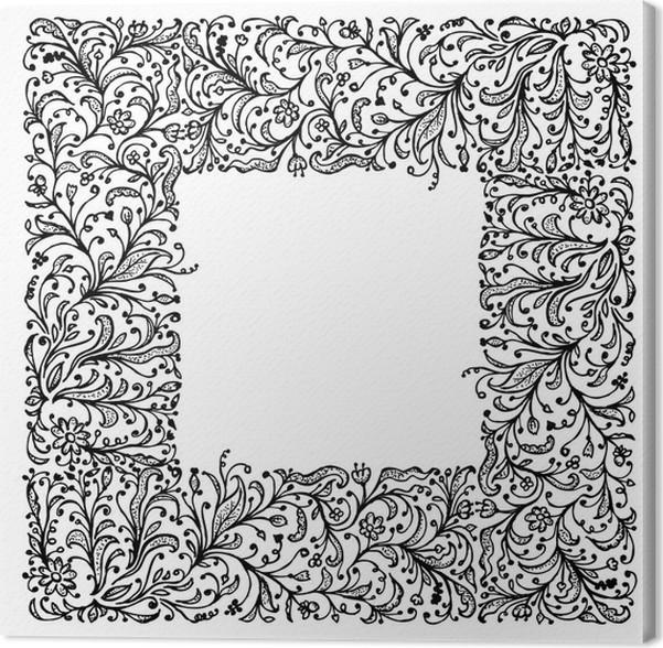 Cuadro en Lienzo Marco ornamental, dibujo a mano para su diseño ...