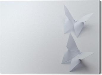 Cuadro en Lienzo Mariposas de origami sobre fondo blanco