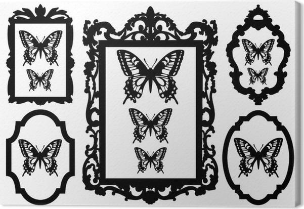Cuadro en Lienzo Mariposas en marcos de cuadros, vector • Pixers ...