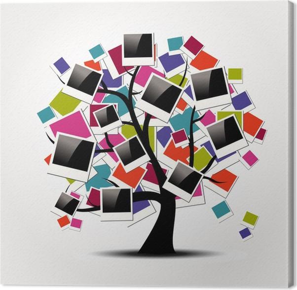 Cuadro en Lienzo Memoria árbol genealógico con los marcos polaroid ...