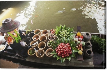Cuadro en Lienzo Mercado flotante, Tailandia