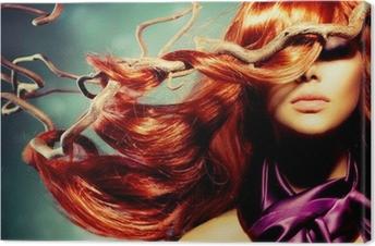Cuadro en Lienzo Modelo de modas Retrato de mujer con largo pelo rojo rizado