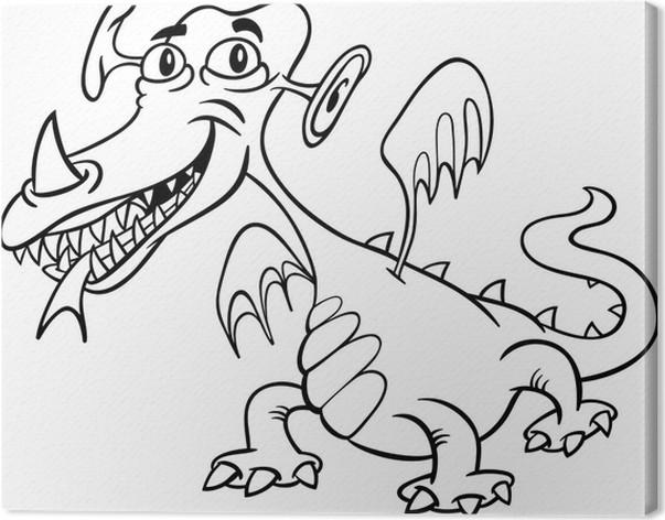 Cuadro en Lienzo Monstruo de dibujos animados o un dragón para ...